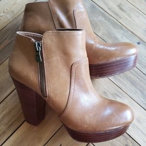 Gianni Bini | Brown Leather Chunky Heel Booties